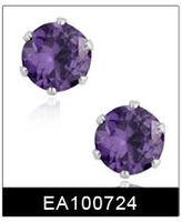 оптовая продажа бесплатная доставка подарок мода ювелирные изделия фиолетовый 316 из нержавеющей стали с CZ серьги стержня #ea100724