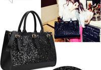сакуры / серия бесплатная + черный сумка из полиуретана, черный заклепки блестки сумка