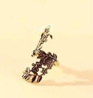 17 мм размер оптовая продажа ретро полые цветы и листья кольцо, мода ювелирных изделий j1260