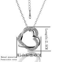 продвижение! двойное в форме сердца ожерелье 18 к белый позолоченные любовь ожерелья шкентеля ювелирных изделий подарок