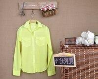 новинка неон цвета флуоресцентные цвета рубашки женщины с отложным стоит с ди Recover Seal блузка леди лето тонкий
