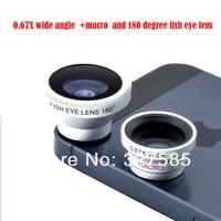 20 шт. / комплект съемный 0.67 х широкоугольный объектив макро-объектив рыбий глаз, maganetic адсорбции 3 в 1 линзы для iPhone 4 и 5 samsunggalaxy