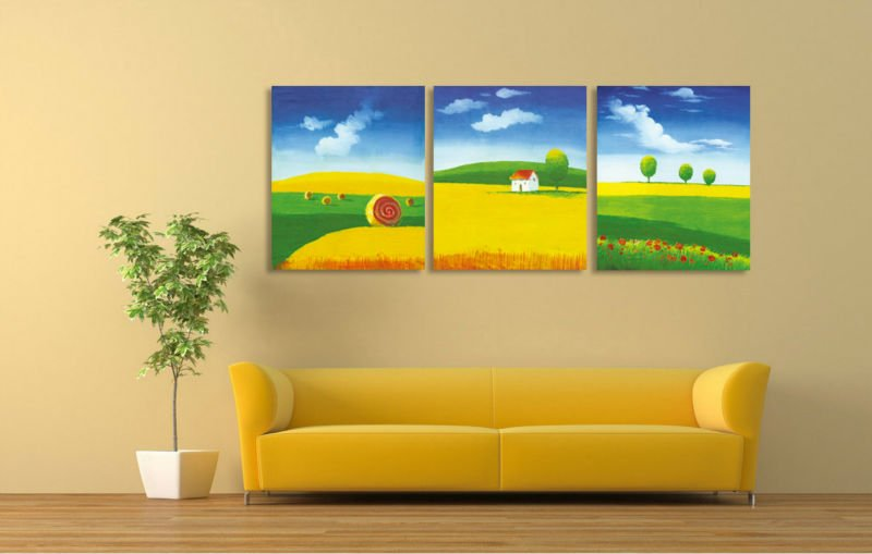 Good Pretty Countryside Landscape Oil Painting On Canvas With Framed Free  Shipping For Kids Room Wall Decoration