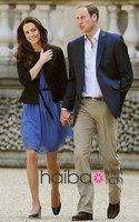 принцесса кейт стиль рукавов раффлед синий шифоновое платье