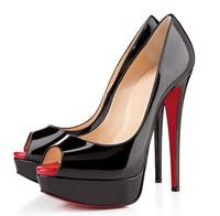16 см сексуальное мода модели черной лакированной кожи с открытым носком туфли на высоком каблуке голова рыбы с круглый. размер : 35 - 42
