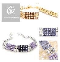 бесплатная доставка модный цветочный браслет сделано с элементами Сваровски кристалл ювелирные изделия для свадьбы ну вечеринку подарок праздничная распродажа