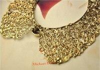 минимальный. $ 15 пышное металл бутон шелк полые ожерелье ложные воротник