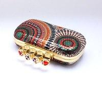 красочные женская череп клатч костяшки кольца сумочка, четыре пальца вечерняя панк-кошелек / кошельки с цепи a03917
