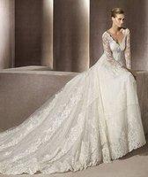 белый / слоновая кость длиной до пола - длина аппликации с V-образным вырезом на три четверти молнии собор свадебные платья свадебное платье длиной до пола