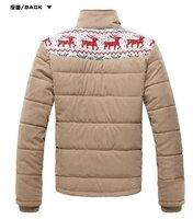 бесплатная доставка новый толстые теплые мужские зимнее пальто, мода досуг зимняя куртка рисунок шерстяное пальто хлопка-ватник одежда