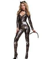 женская сексуальные костюмы черный искусственной кожи токсичные с капюшоном кошка бенгальская кошка косплей костюм для хэллоуина сексуальное костюм на хэллоуин cc100
