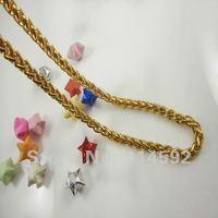 """панк 1 шт. 10 к желтый позолоченные мужские витая пара цепи ожерелье 19.3 """" с застежка бесплатная доставка"""