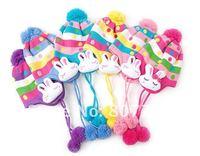 прекрасный колики красочные детские дети детей вязаные шапки шапки и scaves комплект оптовая продажа