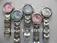 привет Китти женщины девочка наручные часы дамы нержавеющая сталь ремень кварцевый часы женщины часы, ew274
