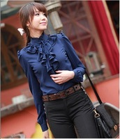 Korea стиль кофточки футболки мода много стоит-остаться с длинным рукавом Chef рубашка синий / белый n2557