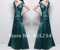 с коротким рукавом нарядное платье / длиной до пола / вечерние платья / леди коктейльные платья с V шеи