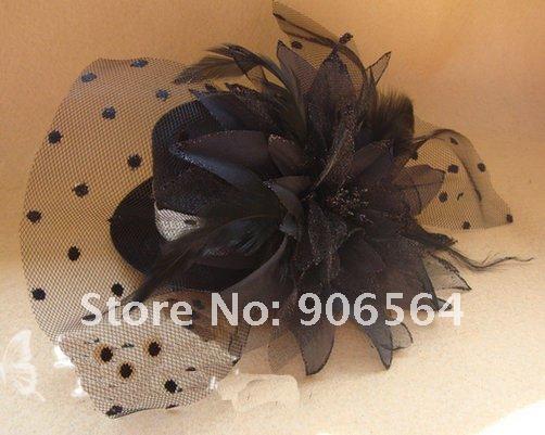 бесплатная доставка оптовая продажа и в розницу мода новый ручной черный цвет вуаль чистая и перо чародей шляпы несколько цветов м33