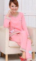 женщин с длинным рукавом и брюки хлопок пижамы комплект / 100% хлопок леди ночь одежда / домашней одежды