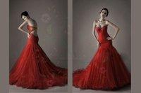на спинки кристалл возлюбленной тюль-линия русалка красный свадебное платье