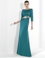 зима модест девушку синий чехол жемчужина 3/4 рукав вышивка бисером аппликация атлас минимальный уровень длина ну вечеринку мать платья невесты