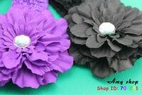 девочки повязка на голову цветок с перо младенцы повязка на голову младенческой вязание мелирование волос младенцы пушистый волос 13 цвет