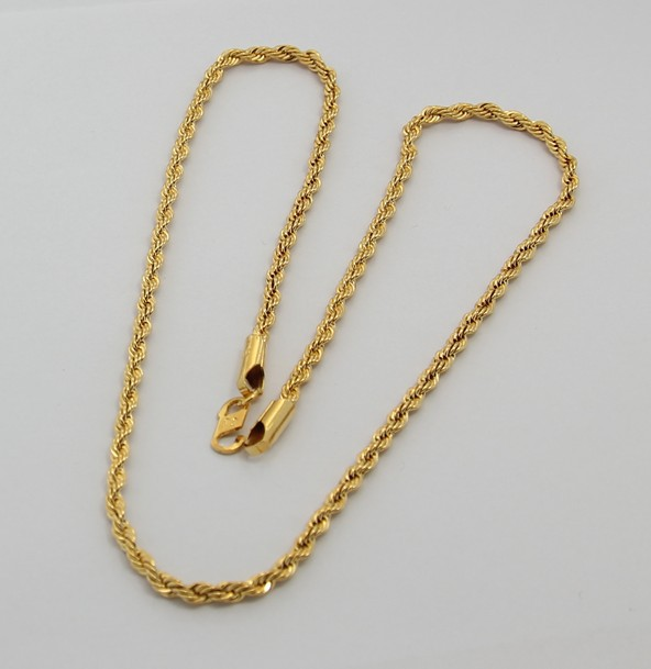 24K Gold Necklace TTDN1 3MM Twisted Singapore Chain 24K Gold