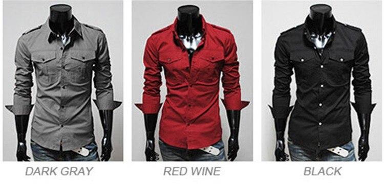 camisas men blouse trendy overshirt Korean button up pocket men's ...