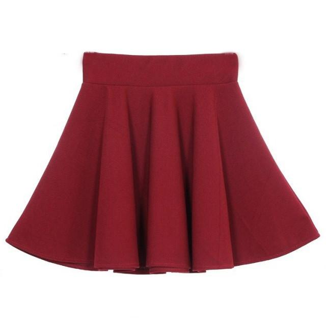 оптовая продажа женская конвертировать цвет радуют юбки стретч обычная конькобежец полу-Clash радуют russ мини юбка