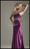 Elegant красивая одно плечо ev1026 топ эластичный атлас мода nerd платье