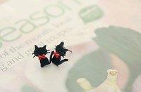 продвижение прекрасный красный бант - узел маленькая кошечка серьги бесплатная доставка r2005