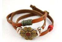 минимальный. заказ $ 5 бесплатная доставка, национальный стиль ретро цветок кожа мода браслет