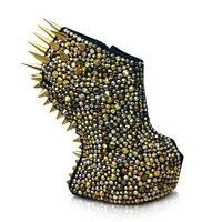 дизайнеры новый шедевр гага шипы и замши клин бути уникальный стиль шипами шипованных нет-пятки туфли горячие стиль женская обувь