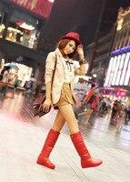 женская лифт пас пятки кожа мех теплая зима снегоступы Cole-высокие гладиатор салат мартин мотоцикл большой размер 34 - 43