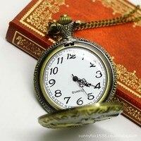 бесплатная доставка женская часы-брошь дамы бронзовый длинная цепь кварцевые часы мультфильм скачки крышка винтаж карманные часы
