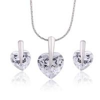 белый Порше в форме сердца подвески африканцы комплект для женщин с CZ кристалл ожерелье серьги мода Alma разлива ув-04