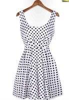 новый лето черный белый розовые платья женщины большой урожай пояснице невидимые молнии спинки горошек платье