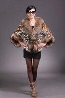fs7110134 подлинная енота большой виверра куртка пальто платок пончо с тигр цвет опт/розница / OEM номер