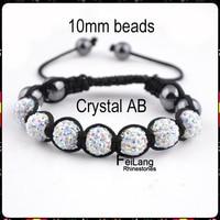 f860123 мода шамбалы браслеты бусины 10 мм 7 шары дискотечный шар бусины кристалл АБ блестящий ручной работы популярные кристалл ювелирные изделия 1 шт