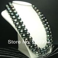 """оптовые дизайн 9-10 мм черный вид cultivate mug цепочки и ожерелья 50 """"ручной работы ювелирные изделия, подарок бесплатная доставка"""