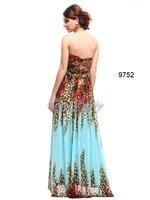 he09752zs без бретелек стразы бусины печатных сплит шифон вечернее платье