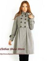 бесплатная доставка мода женщин зимние пальто о-образным шеи двубортный тонкий пончо плащ пальто верхней одежды