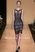 женские сексуальное платье bodycon бинты вечернее знаменитости платье n052 черного цвета сетки на груди без рукавов