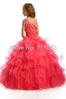 китайский люкс ярко розовый прекрасный бисера органзы цветочница платье сшитое