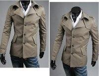 мужская куртка, мода пальто длинный абзац тонкий сексуальный топ разработанный мужская куртка пальто цвет : черный, армия зеленый, серый