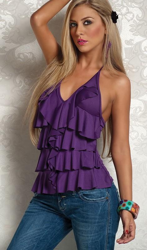 дамы лето жилет верхний, фиолетовый с с V-образным вырезом слоистых гофрирование бретелька верхний сексуальный верхний для леди платье