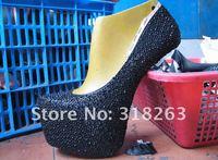 160 черный кристалл стразовая гематит свадебных платформы туфли на высоком каблуке женская обувь, леди гага