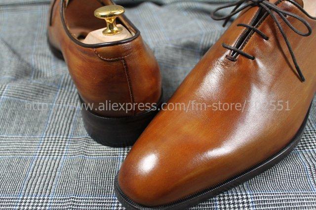 Adhesive craft custom handmade genuine calf leather men\'s oxford shoe color brown No.OX202