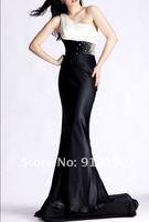 бесплатная доставка новый элегантный одно плечо белый черный вечернее платье для выпускного бала вечернее платье размер
