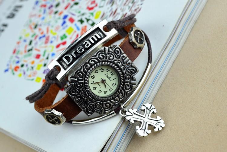 старинные крест ручной работы часы с браслет, старинные мечта браслет наручные часы, старинные Серра крест мечта часы часы для леди девушка