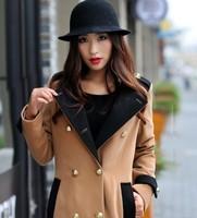 новый зима шерстяное пальто женская двубортный большой карман куртки средней длины - утолщение спортивный костюм пальто способа